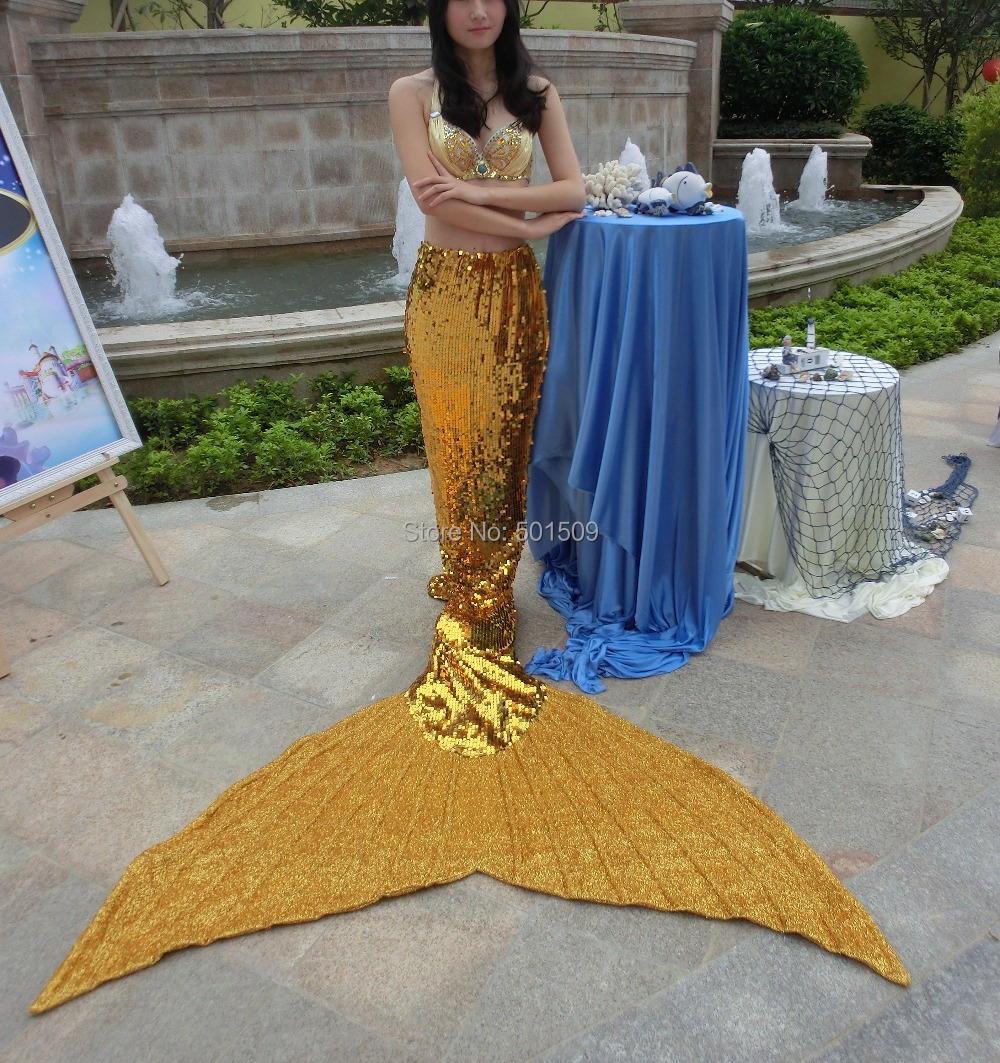 100% vraie photo dames femmes strass perles couleur dorée pleine paillettes grande queue de sirène avec soutien-gorge/ariel sirène cosplay