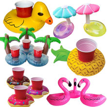 Cute Inflatable Flamingo Drink Can Cell Phone Holder Floating Swimming Stand Pool Bathing Beach Event Party Kids Toy Bath Toy(China)