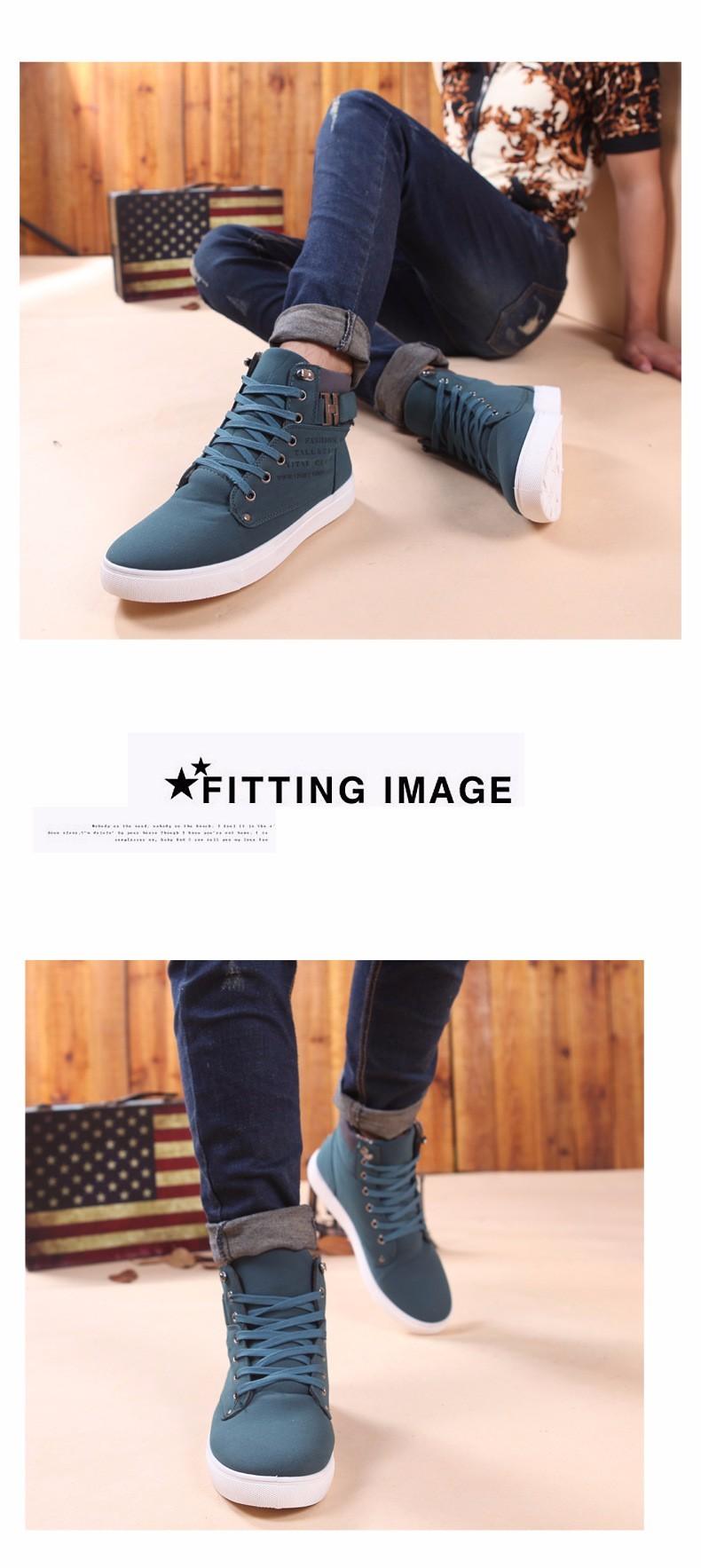 New fashion 2016 men shoes winter high top lace up casual ankle autumn flock men shoes British style casual shoes ET09 (9)