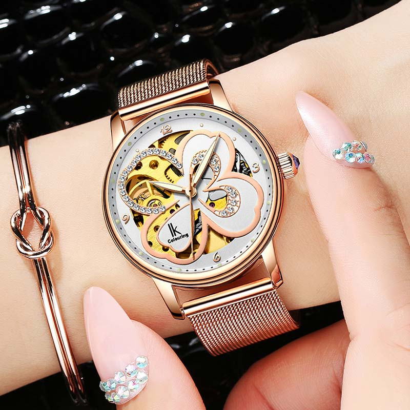 лучшая цена Carving Clover Flower Womens Watches New Fashion Automatic Mechanical Hollow Skeleton Full Steel Lady Watch Montre femme Donna