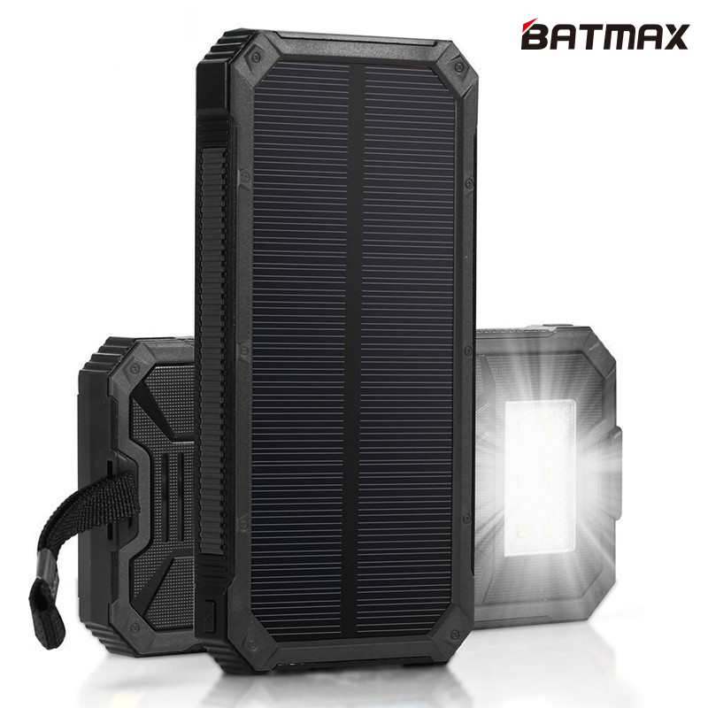 Solar Charger LED Lamp Solar Power Bank 15000mAh Rechargeable External Solar Battery Support Solar Charging for Smart Phones solar powered 2600mah external li polymer battery charger power source bank black