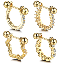 1PC Copper 20G Gold Nose Piercing CZ Gem Nose Hoop Nostril Ring Tragus Helix Cartilage Barbell Earrings Piercing Sexy Jewelry boako 1pc nose hoop nostril ring flower helix cartilage tragus nose jewelry zircon earring rings body jewelry fake piercing b40