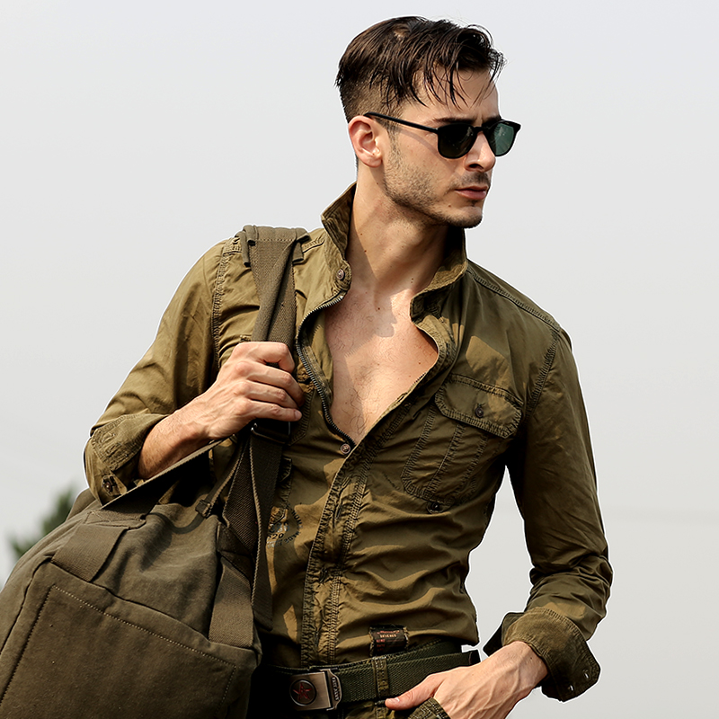 High Quality Men's Casual Long Sleeved Cargo Shirt Plus Size