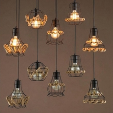 Nordic style Pendant Lights creative Corridor dining room lamp modern simple bedroom  hemp rope iron  personality Pendant Lights lican nordic restaurant pendant lights dining room bedroom lamp creative personality bar table lights pendant lamp home decors