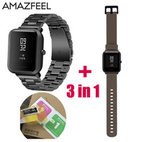 3in1 Watchband Strap For Xiaomi Huami Amazfit Youth Bip BIT Watch Metal Stainless Steel Bracelet 2pcs