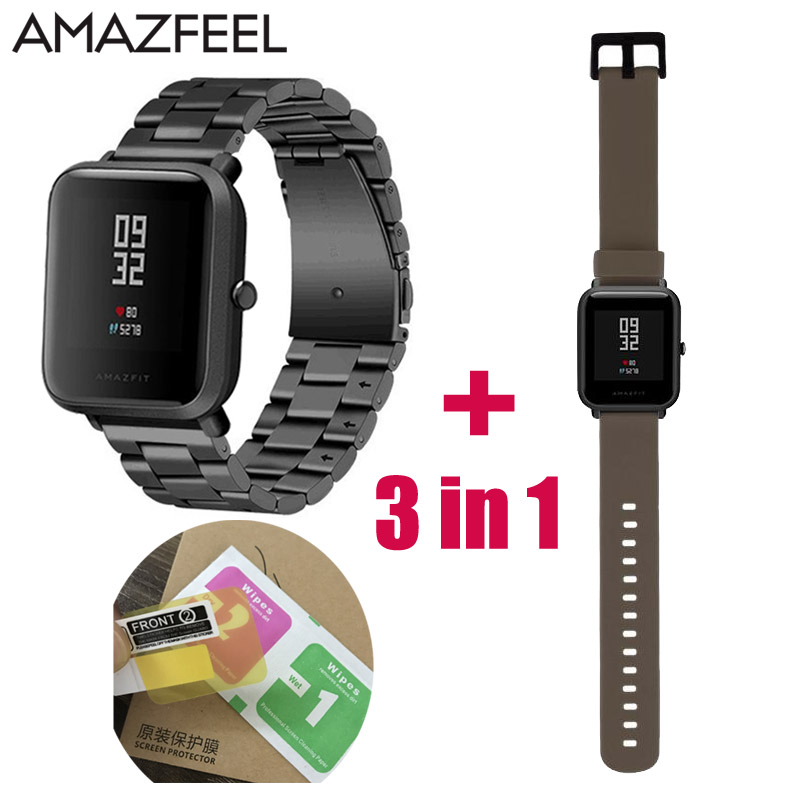 3in1 Watchband Strap for Xiaomi Huami Amazfit Youth Bip BIT Watch Metal Stainless Steel Bracelet 2pcs Amazfit Screen Protector 3in1 metal strap double color band for original xiaomi huami amazfit bip bit pace lite youth smart watch screen protector film