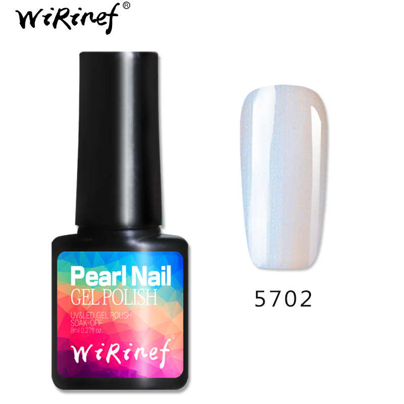 Wirinef nude natural casca pérola uv led unha gel polonês laca 8ml pérola brilhante mar concha gel verniz puro