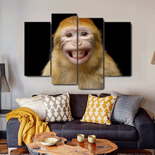 Smiling Monkey Animals Canvas Painting Calligraphy Prints Home Decoration Wall Art Poster Pictures for Living Room Bedroom