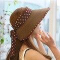 2016 Новая Мода Шляпа-Панама Лето Женщин Соломы Cap Широкими Полями Пляж Caps Вс Шляпы HT51078 + 10