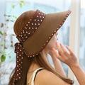 2016 Nueva Moda Sombrero de Verano Para Mujer Casquillo de la Paja de Ala Ancha Beach Caps Sombreros de Sun HT51078 + 10