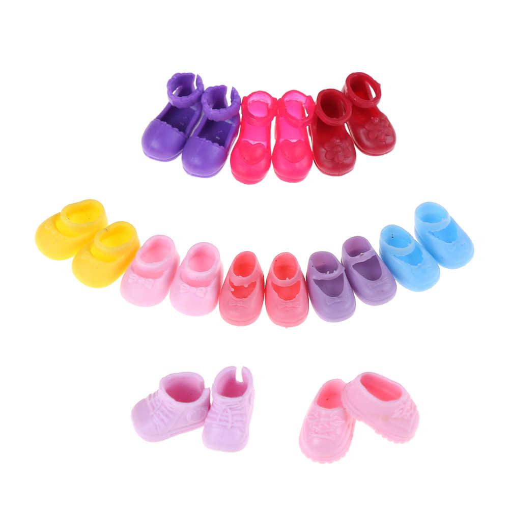 5 pares de zapatos de moda Zapatos de muñeca para conjunto para muñeca vestido niñas pequeñas regalo para niñas accesorios al azar mejor venta