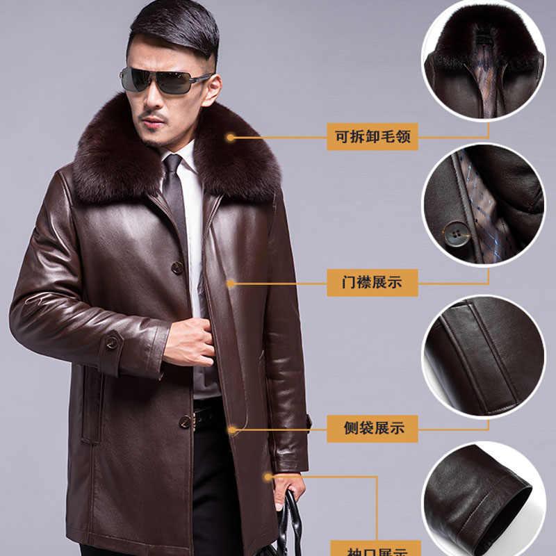 プラスサイズ厚く暖かい冬の男性ナチュラルウサギの毛の襟取り外し可能なライナージャケット男性本革コート上着
