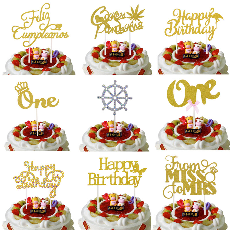 Russian Happy Birthday Cake Toppers Crown One Flamingo Birthday Cake Flags From Miss To Mrs Wedding Cake Decor Feliz Cumpleanos