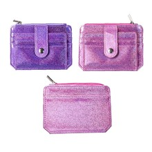 KANDRA Laser Shining Glitter Card Holder Bag Girls Drivers license bag PU Leather ID Credit Case Business Bags