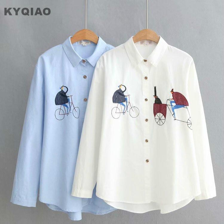 Kyqiao Women White Shirt Female Autumn Spring Japanese Style Brief Long Sleeve White Cross-stitch Blouse Blusas Mujer De Moda Moderate Price Women's Clothing