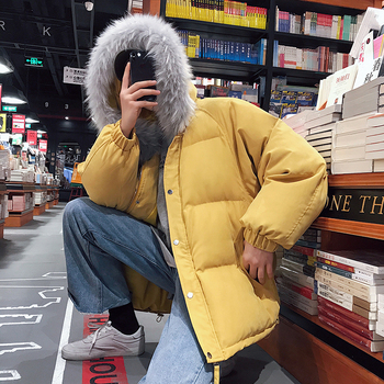 2019 Winter Trend Cotton Clothing  Korean version of the Loose Thick Large Fur Collar Coat Male High Quality Mens Solid Outwear