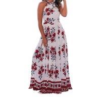 In Hoa Loose Boho Bohemian Phụ Nữ Ăn Mặc Sexy Dây Đeo Treo cổ Vintage Dài Maxi Dress Mùa Hè Ăn Mặc 2017 Bãi Biển Sundress 3X