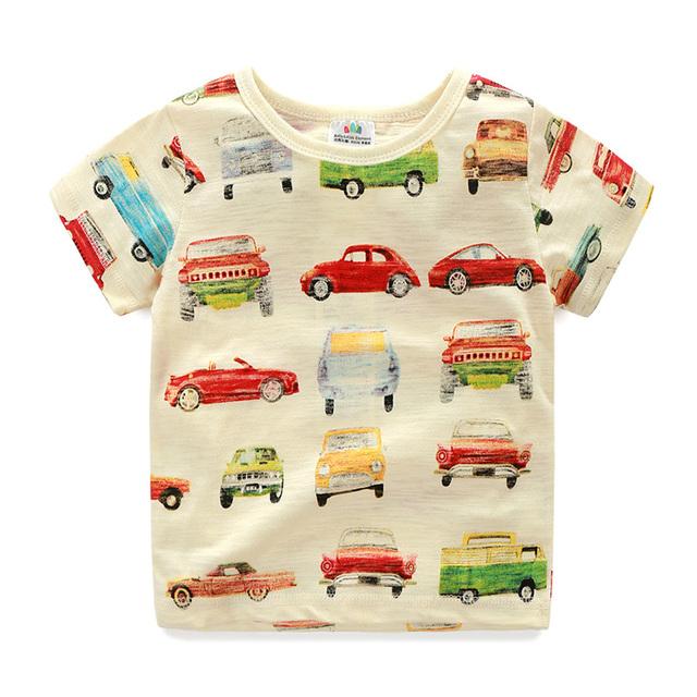 Meninos T-shirt Dos Desenhos Animados Carro Verão Meninos T Shirts O Pescoço Camiseta Manga Curta Crianças Crianças Roupas Casuais 2296