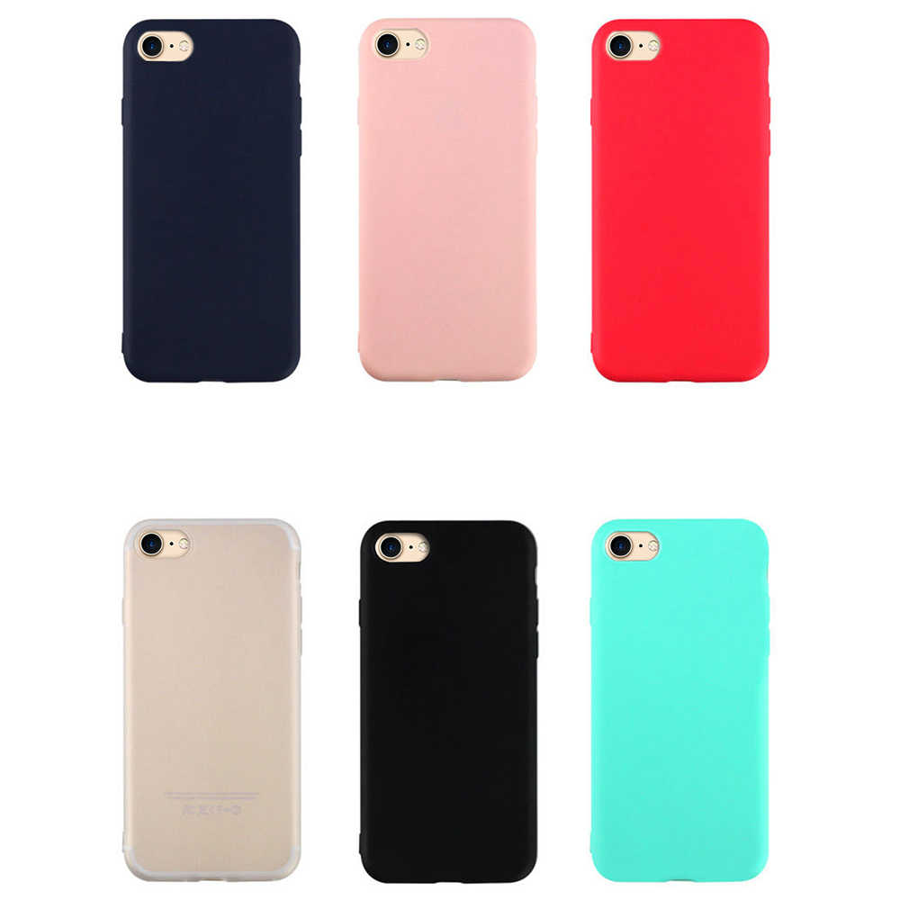 Caso Mate Ultra Fino Para o iphone XS Max 7X8 6 6 S Plus Capa Colorida Plain Macio TPU escudo do telefone Para o iphone 10 XS XR Fundas