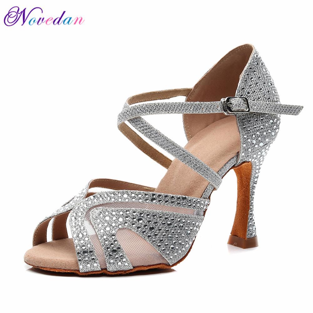 Latin Dance Shoes Women Rhinestone Glitter Salsa Ballroom Sandals Party Dancing Shoes High Heels 9cm Silver White