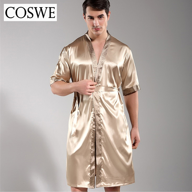 COSWE New Men Robe Mens Silk Dressing Gown Mens Satin Bathrobe Sexy Robes  Pijamas Masculinos Nightgowns For Male Night Gowns c7ba47098