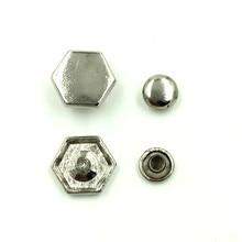 50Sets Punk Hexagonal Spike Studs Spots Garment Rivets Silver Tone Crafts Making 12x11mm