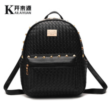 Подлинной женской моды сумку обратно в крылья девушка заклепки школа в Корея стиль белый назад черный мешок