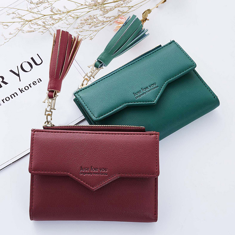 2018 Fashion Tassel Women Small Leather Wallet Female Zipper Credit Card Pocket For Girls Photo Coin Purse Short Standard Wallet