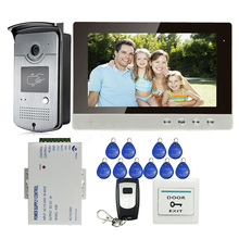 FREE SHIPPING Wired 10″ Color LCD Video Intercom Entry Door Phone System + Outdoor RFID Access Doorbell Camera + Remote + Power