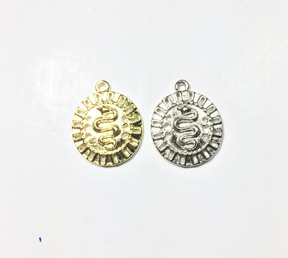 Eruifa 10pcs 17mm Nice Snake Coin gold/Silver plated Zinc alloy Charms Pendant Jewelry DIY Necklace 2 colors
