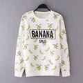 Девушка майка белый банан футболки для детей девушки одежда фрукты банан 2016 весна осень с длинным рукавом белый малышей девушки футболки