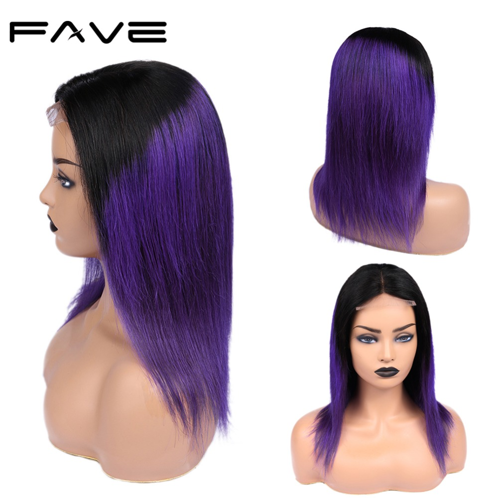 Brazilian 4*4 Lace Closure Ombre Wigs Remy Straight Human Hair Wig 150% Density Pre Plucked 1B/Purple Free Shipping FAVE Hair