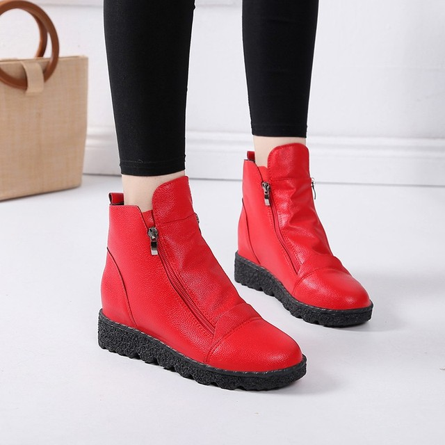 Fashion Botines Mujer 2018 Winter Ankle Boots For Women Wedges Rubber Booties  Plush Insole Platform Snow Boots Red Black 8c97ad1db7f4