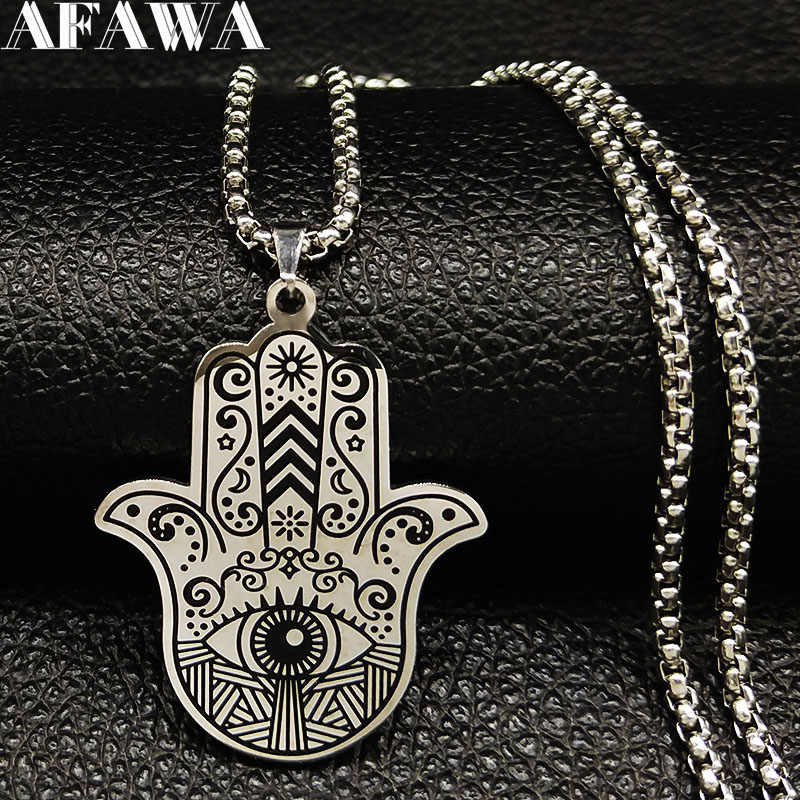 2019 Islam Muslim Hamsa Hand Stainless Steel Necklaces Men Black Silver Color Necklaces Pendants Jewelry collier homme N18536