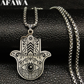 2020 Hamsa Hand Stainless Steel Necklaces Men Black Silver Color Necklaces Pendants Jewelry collier homme N18536 vnox retro viking spear pendants for men necklaces stainless steel male necklaces tribal style punk necklaces