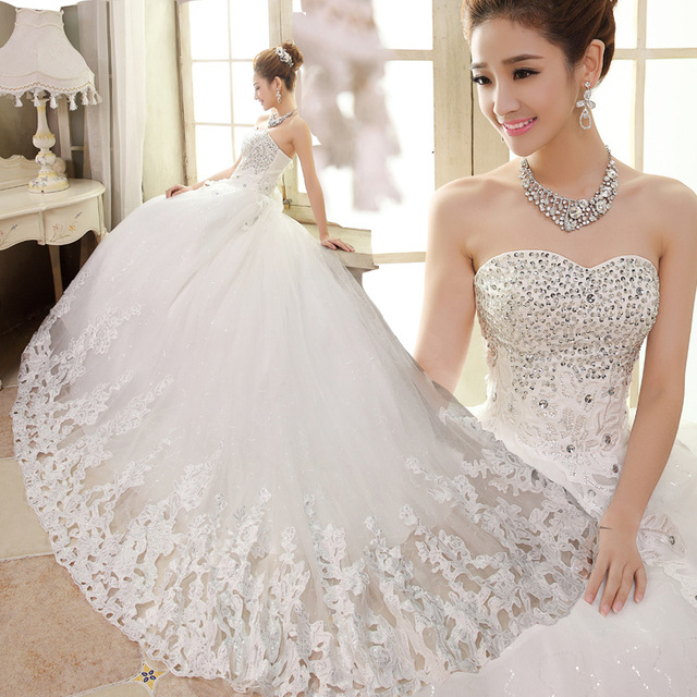 Good China Hong Kong Wedding Dress Show Cn Spring Luxury Rhinestone Princess Top Bandage Train With Chinese