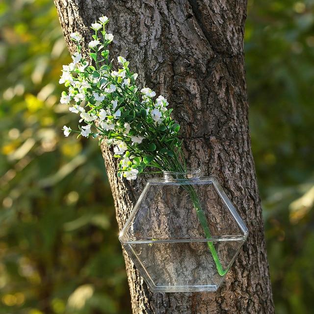 Hexagon transparent glass wall vase hydroponic indoor flower vase wedding vase decoration Spring Festival Home freeshipping