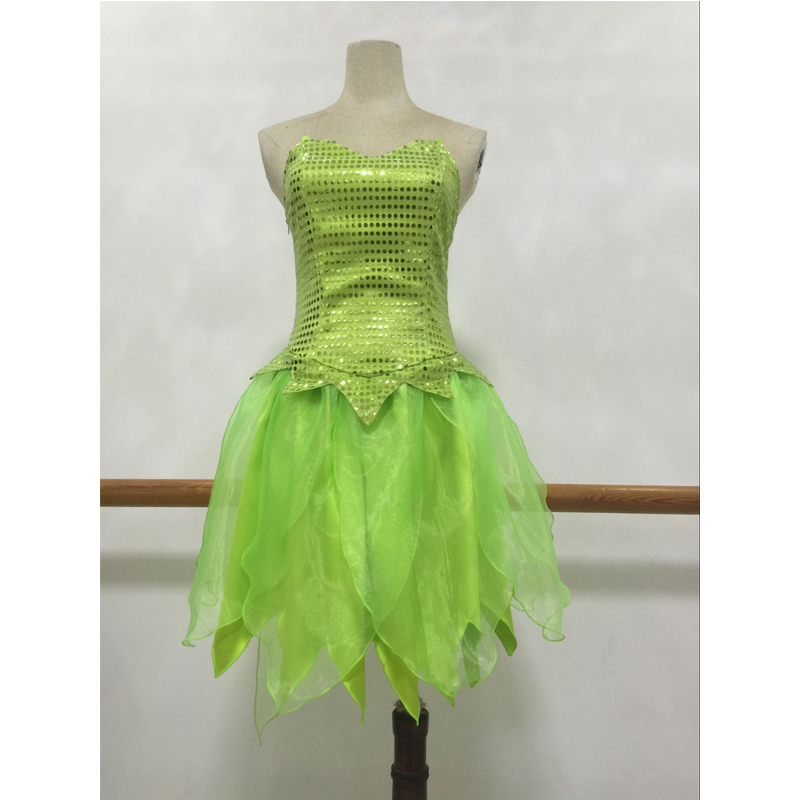 Tinkerbell Princess Dress Green Tinker Bell Cosplay Costume Adult Halloween Carnival Party Costume Full Set Custom