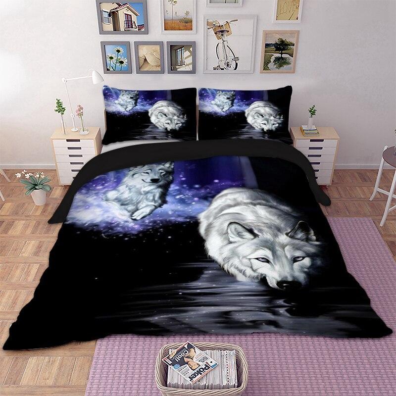 Домашний текстиль волк пододеяльник Наволочки Твин Полный queen King Super King двойной Размеры животных кровать линии Постельное белье покрывало