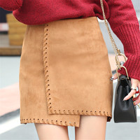 Real Photo 2016 Autumn New Assymetric Women Suede Skirt Black And Brown Bodycon Skirts Faux Leather