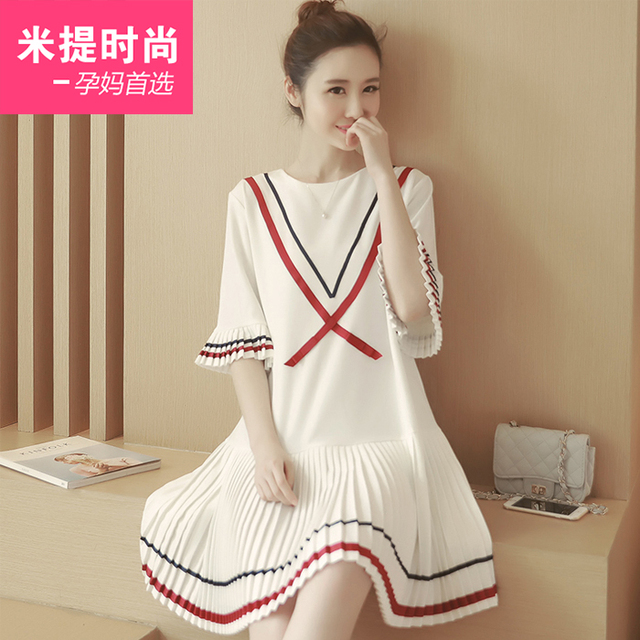 25ef179294 Maternity clothing fashion o-neck loose brief color block mosaic lines  pleated ruffle one-piece dress