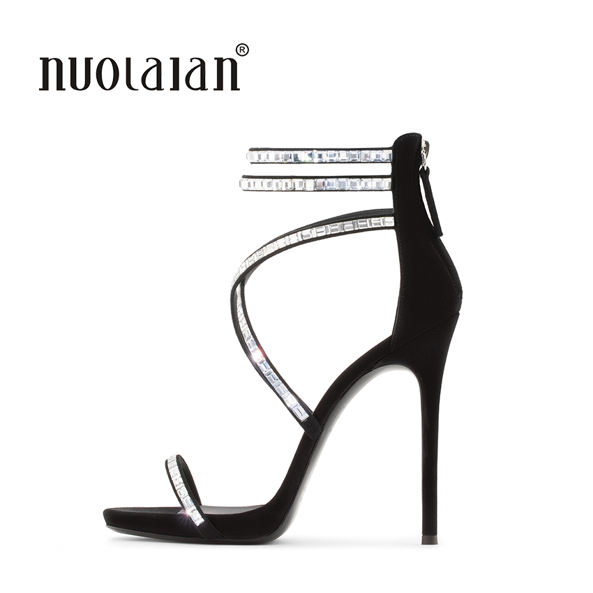 Brand Fashion Women sandals Sexy High Heels sandal Ankle Strap Summer Women Shoes Crysal High Heels Party Wedding Shoes Woman new arrival black brown leather summer ankle strappy women sandals t strap high thin heels sexy party platfrom shoes woman