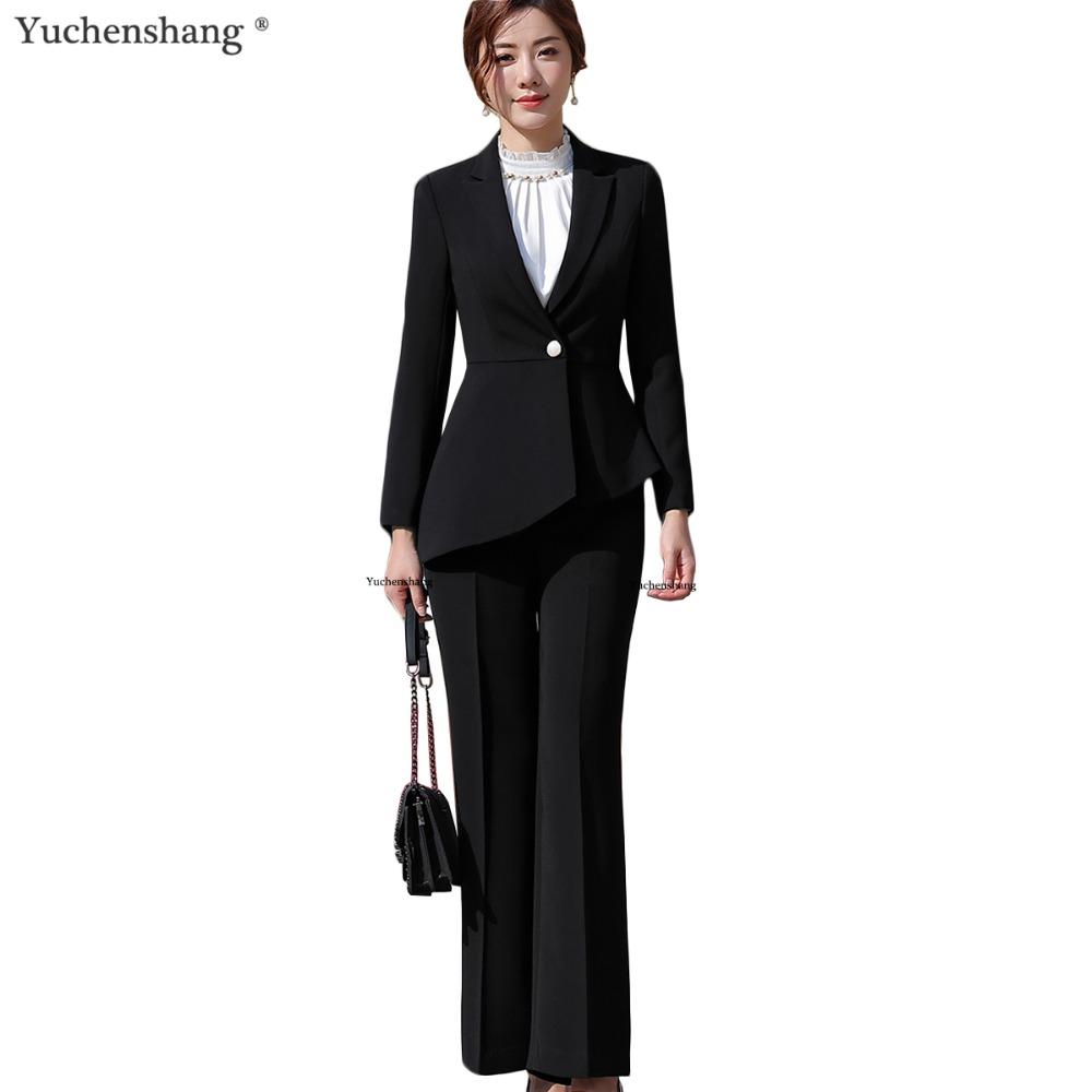 Women Elegant Pant Suit Slim Fashion Formal Black White Long Sleeve Symmetrical Blazer With Trousers Office Ladies Suits 4XL