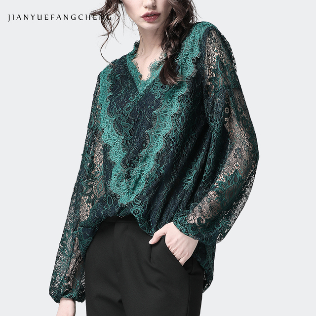 Lace Shirt Hollow Out Floral Blouse Women Long Sleeve triangle ruffle Top Solid Color Loose 2019 Fashion Sexy Korean Clothing