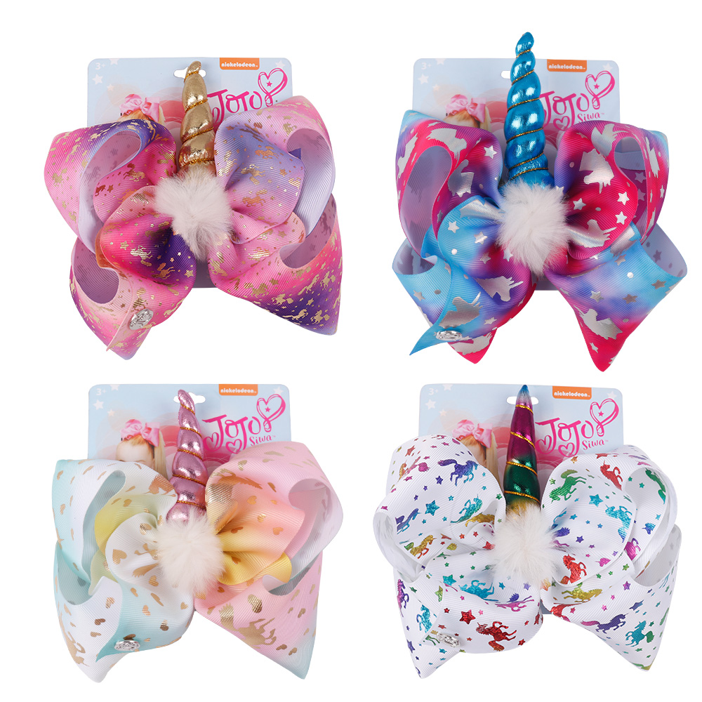 Oaoleer Hair Accessories JOJO siwa Hair Bows for Girls Sequin/Unicorn/Mermaid Hairgrips Handmade Kids Pompom Hair Clips ON SALE