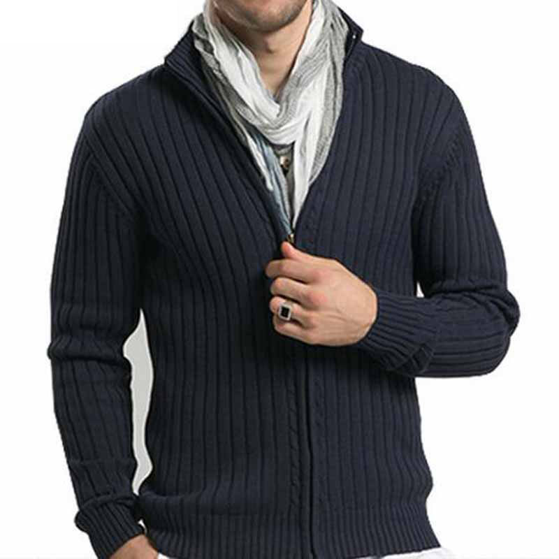 Misniki Men Casual Sweaters Stand Collar Christmas Knitwear Slim Fitted Zippers Cardigans M-3XL AXP29