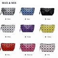 2016 Fashion Geometric Cosmetic Bag Women Laser Flash Diamond Leather Makeup Bag Ladies Cosmetics Organizer Geometric Zipper Bag