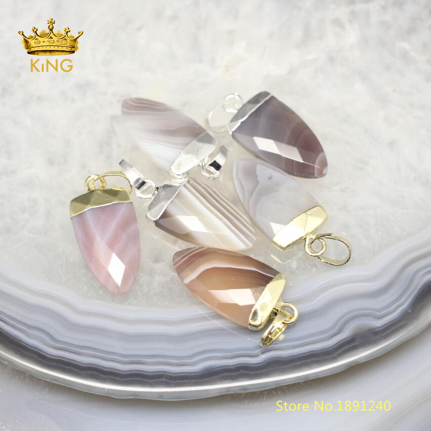 10pcs Botswana Achate Cut Stones Charms Fashion Jewelry Necklace,Wholesale Natural Agates Gems Faceted Arrow Pendentifs DSS68-7