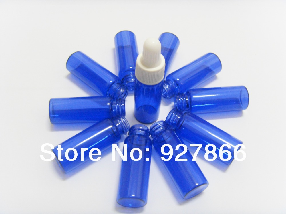 100pcs Lot 5ml cobalt blue glass eye dropper bottles,Tiny small Essential oil bottles, cosmetics vials, White cap
