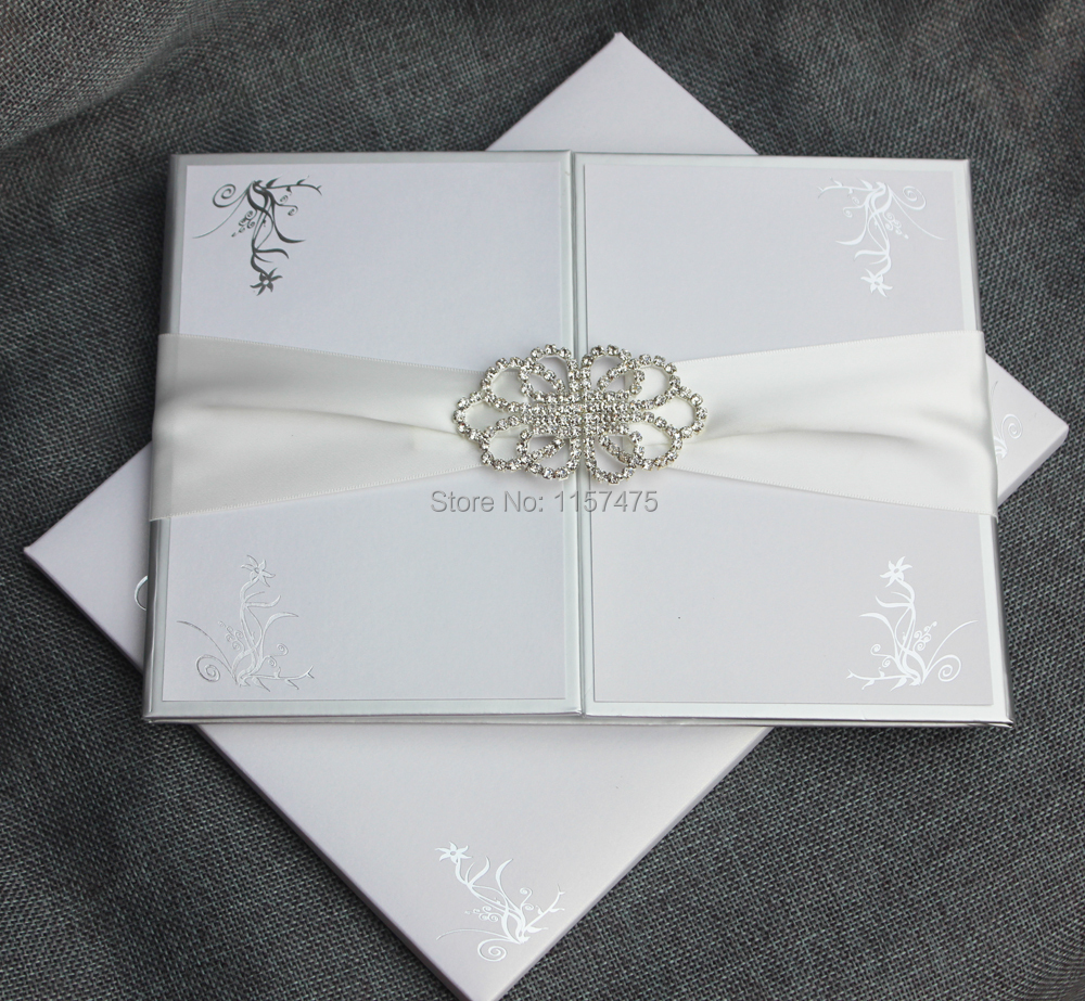 HI1109 Elegant White Hard Cover Wedding Invitation Card with ...